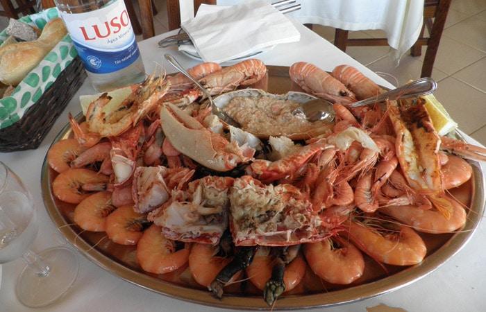 Mariscada de la Marisquería Costa Nova comer en Aveiro
