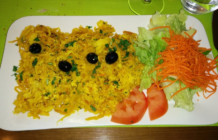 Bacalao a brás de Quinta Prado Verde comer en Vilar Formoso