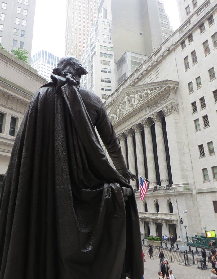 Estatua de Washington y la Bolsa de Nueva York