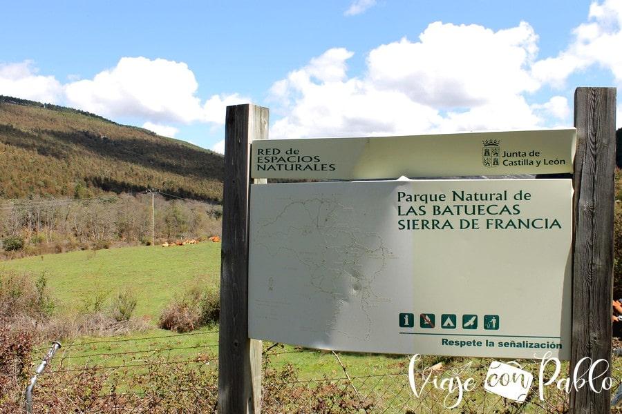 Límite del parque natural de Las Batuecas Sierra de Francia