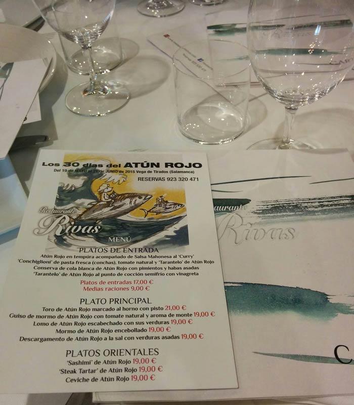 """Carta de """"Los 30 días del atún rojo"""" del Rivas restaurantes en Salamanca provincia"""