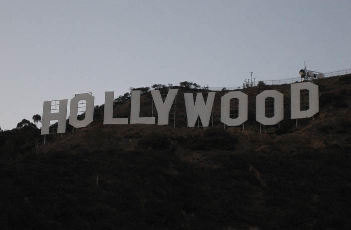 Otra vista de las letras del cartel de Hollywood