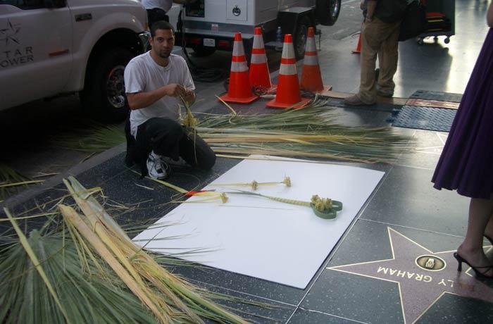 Preparando una de las estrellas Paseo de la Fama de Hollywood