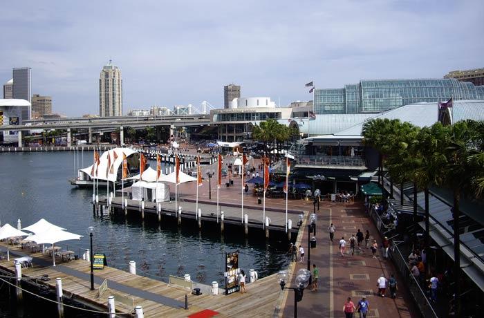 Animación en el Darling Harbour qué ver en Sídney