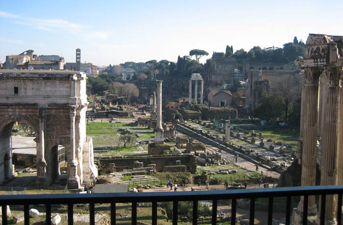 Mirador del Tabularium Coliseo y Foro Romano
