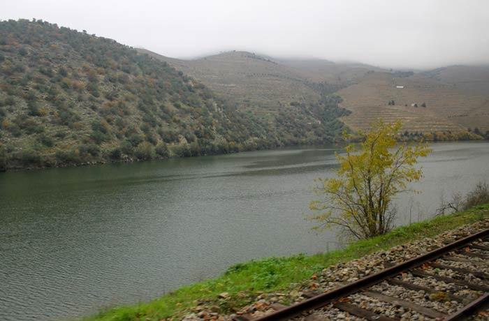 Vía férrea y el río tren Pocinho Regua