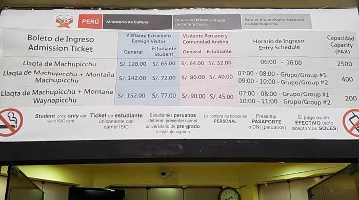Cuadro de tarifas en el Centro Cultural Machu Picchu en Aguas Calientes Machu Picchu consejos