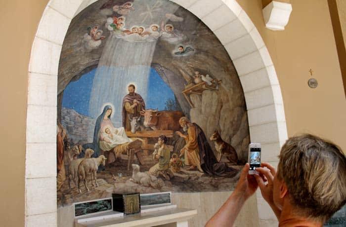 Cuadro de la adoración de los pastores en la iglesia del Campo de los Pastores Belén desde Jerusalén