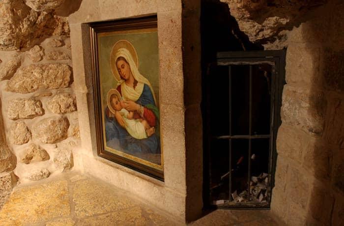Cuadro de la Virgen amamantando al niño en la Gruta de la Leche Belén desde Jerusalén