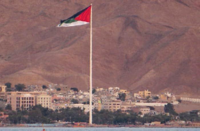 Vista de Áqaba desde Eilat pasar de Israel a Jordania