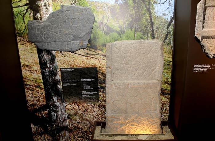 Estelas funerarias romanas en el centro de interpretación de Tresminas