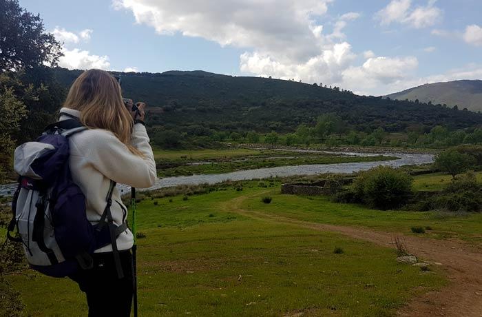 Vista de la desembocadura del río Cuerpo de Hombre en el Alagón ruta de los Tres Ríos