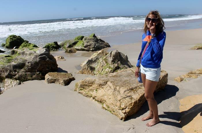 Estefanía en la playa de Costa Nova