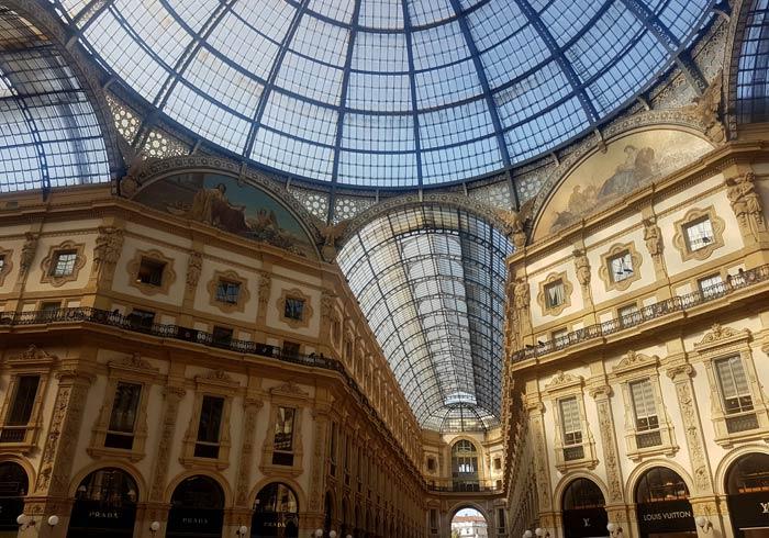 Techos de la galería Vittorio Emanuele qué ver en Milán