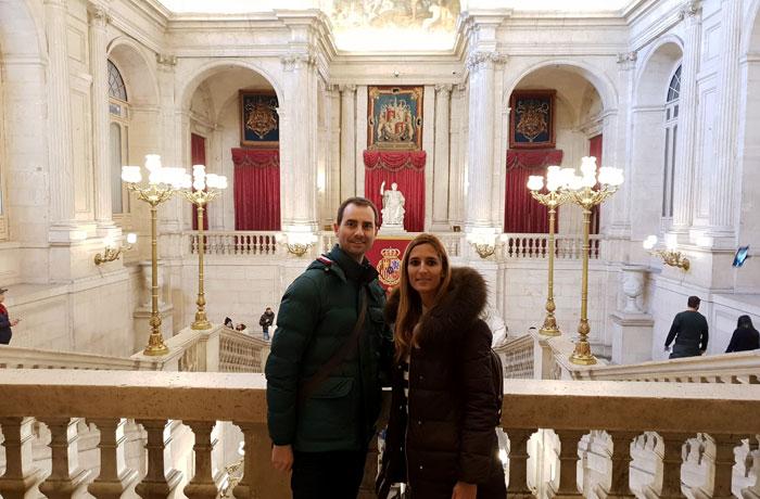 Durante la visita al Palacio Real de Madrid