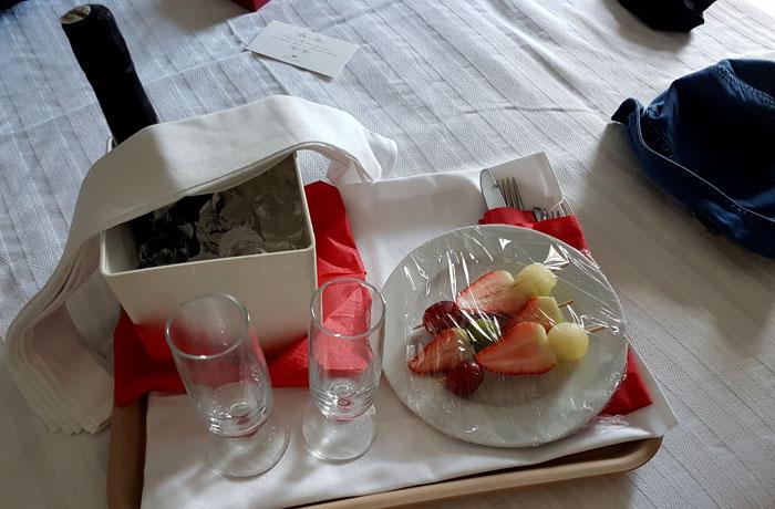 Detalle romántico en la habitación del Grande Hotel das Caldas da Felgueira