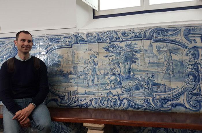 Azulejos de una de las aulas de la Universidad de Évora