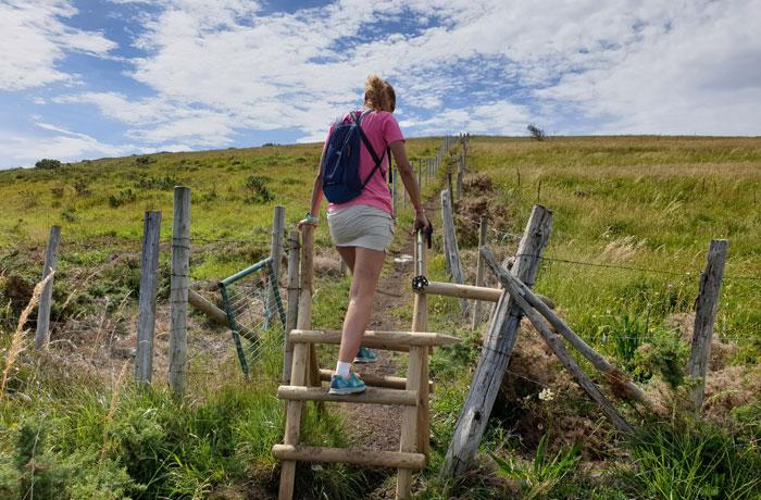Escalera para acceder al sendero de subida