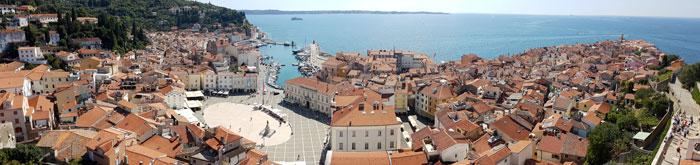 Vista de Piran desde la catedral de San Jorge