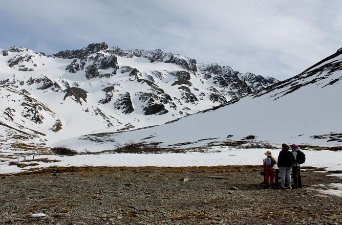 Punto hasta el que llegamos en la ruta del glaciar Martial