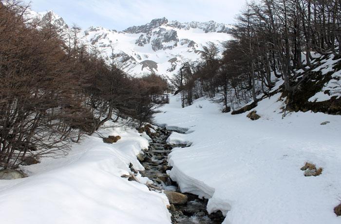 Nieve en la ruta del glaciar Martial que hacer en Ushuaia