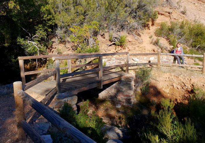 Puente de madera en el punto más elevado para tomar la pista de regreso