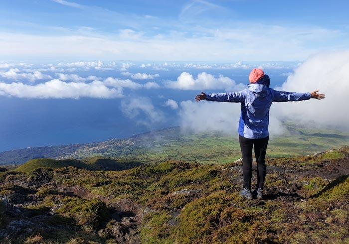 Subida a la montaña de Pico Azores