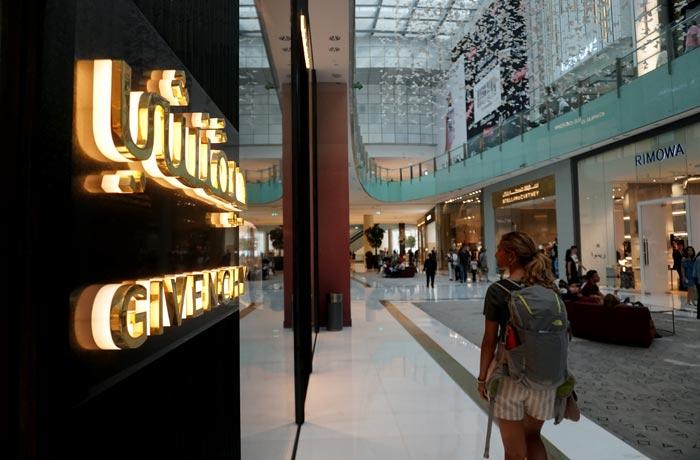 Zona de las tiendas exclusivas del Dubai Mall