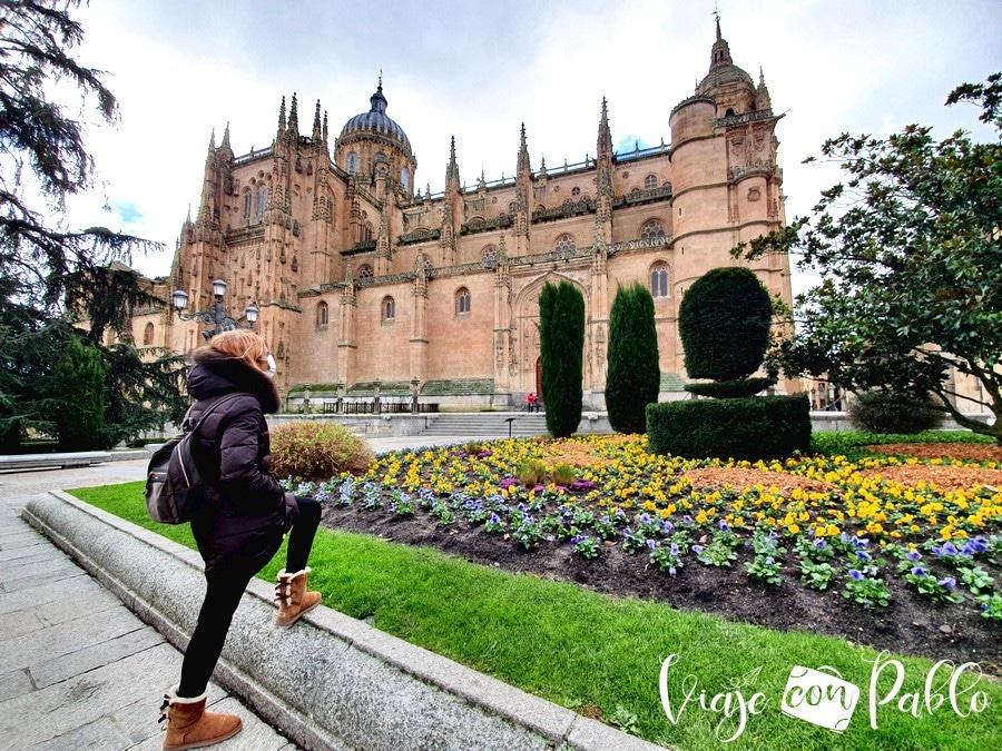 Las catedrales de Salamanca desde la plaza de Anaya