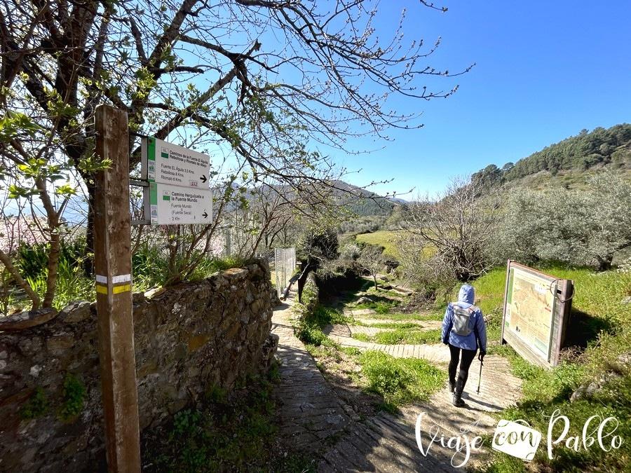 Inicio de la ruta de Herguijuela a Riomalo de Abajo