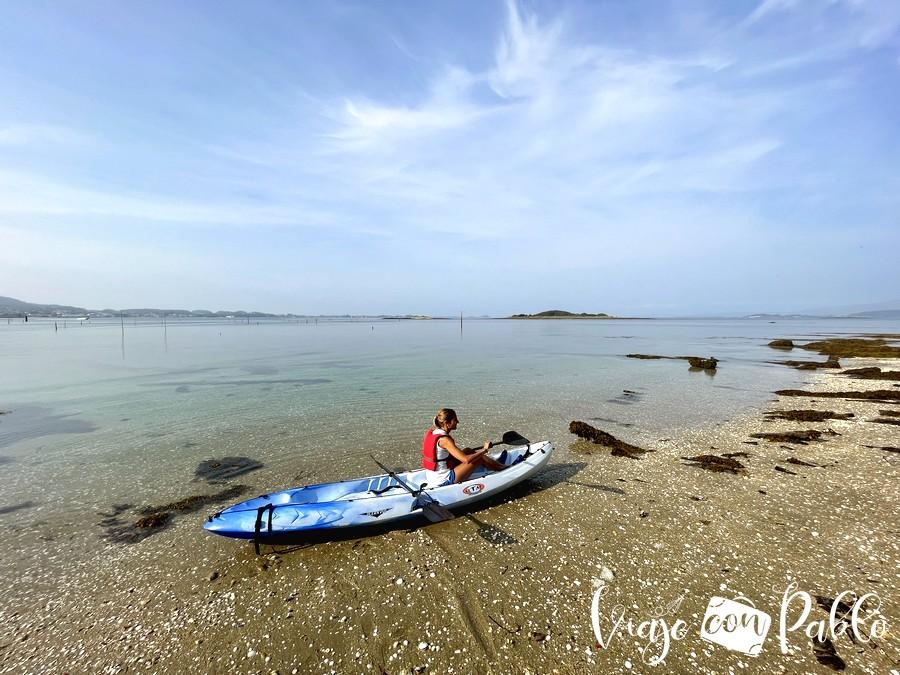 Playa suroeste de Cortegada donde dejamos el kayak