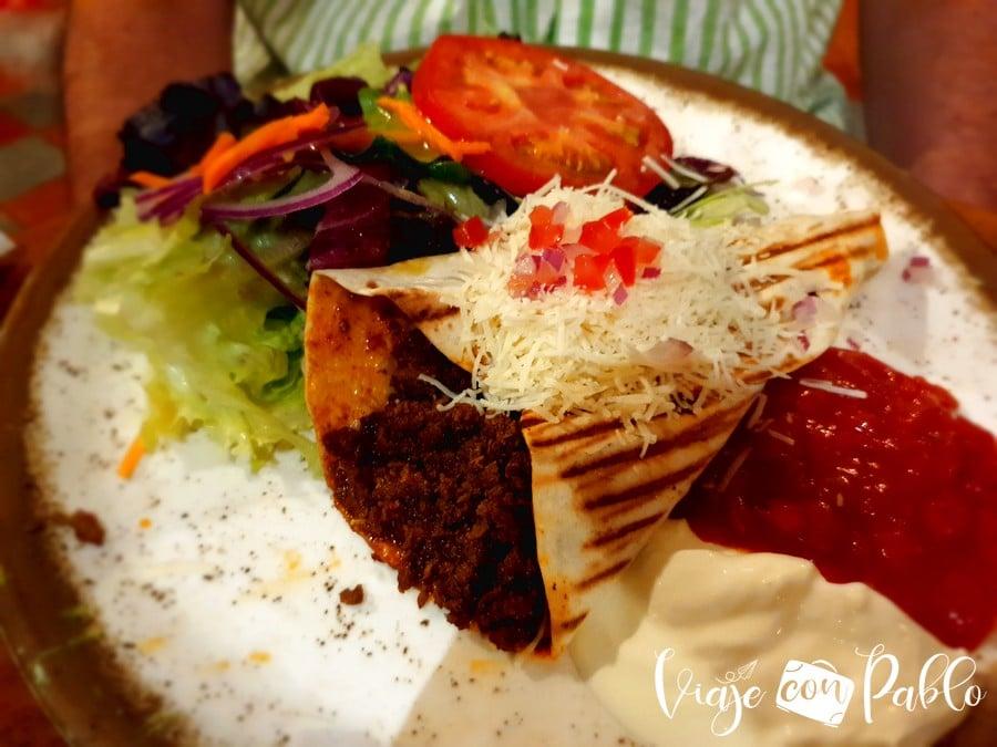 Wrap mexicano con carne picada de Rita's Cantina